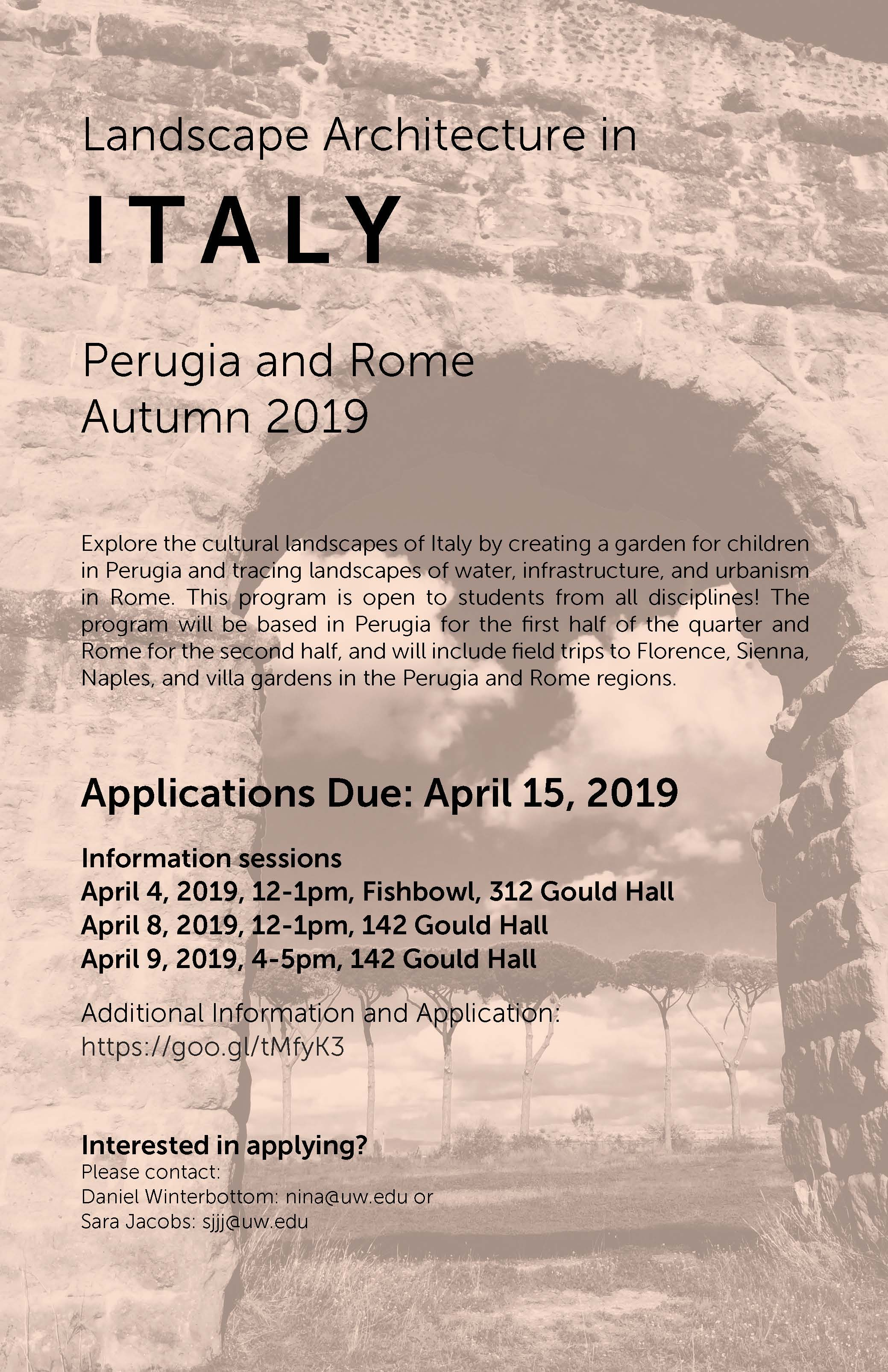 Landscape Architecture in Italy, Autumn 2019 - all Depts  welcome