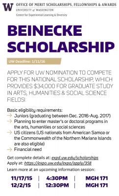 University Of Washington Scholarships >> Beinecke Scholarship 34 000 For Juniors Planning For