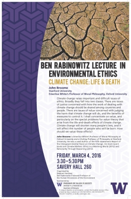 Flyer for Climate Change Lecture by John Broome