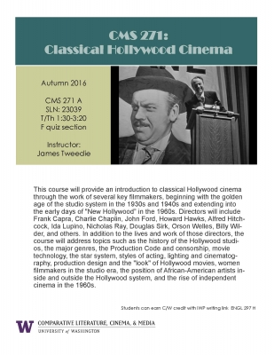 CMS 271: Classical Hollywood Cinema - Course Flyer