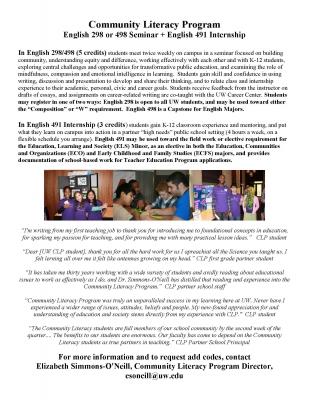 Community Literacy Program Flyer