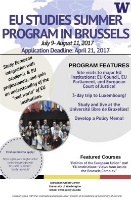 EU Studies Summer Program in Brussels Flyer