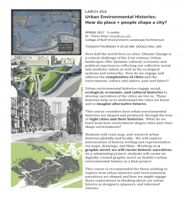 L ARCH 454 Urban Environmental Histories - How do place + people