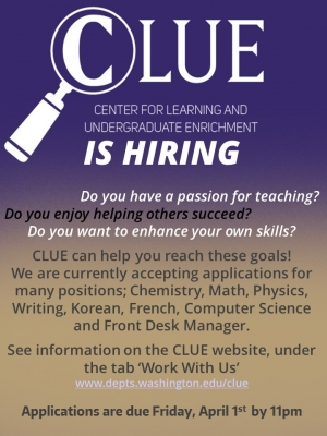 CLUE is hiring for 2016-2017 | Department of Political Science