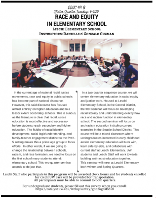 Race and Equity in Elementary School, a new Inner Pipeline Seminar