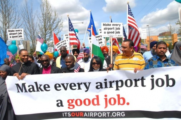 SeaTac wage demonstrators, courtesy reclaimtheamericandream.org.