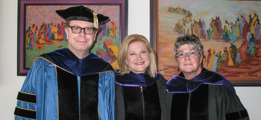 Prof. Lovell, Distinguished Alumna Charbonneau, and Prof. DiStefano