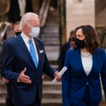Joe Biden and Kamala Harris talking