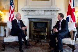 Vice President Joe Biden meets with British Prime Minister David Cameron at 10 Downing Street, in London, United Kingdom, Feb. 5, 2013