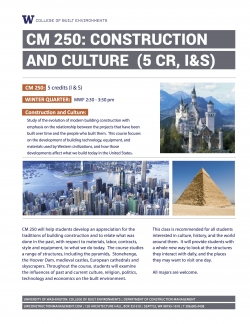 CM 250: Construction and Culture - Course Flyer
