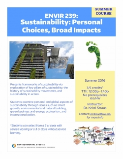 ENVIR 239: Sustainability: Personal Choices, Broad Impacts - Flyer