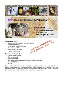ESRM 491 D Beekeeping Course Flyer
