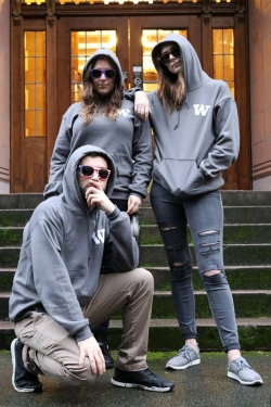 Pi Sigma Alpha members wearing logo sweatshirts