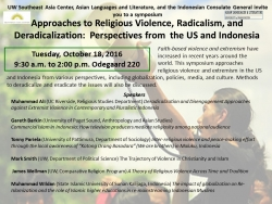 Approaches to Religious Violence, Radicalism, and Deradicalization Symposium Flyer